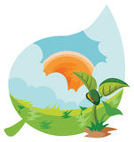 Young plant. And summer landscape. vector illustration Royalty Free Stock Image