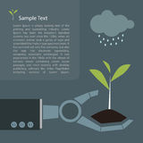 Young plant in robot hand future concept Royalty Free Stock Image