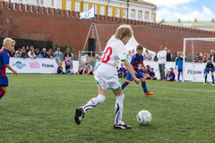 Young players are playing soccer Stock Photography