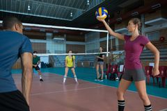 Players practicing volleyball Royalty Free Stock Image