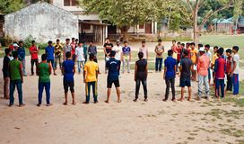 Young players standing together in a field unique photo. Young Bangladeshi boys standing in a place isolated unique editorial photo royalty free stock images