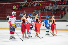 Young players and support girls on the ice Stock Image