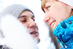 Young playful couple has a fun. winter Stock Photo