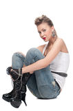 Young playfull rock girl on white Royalty Free Stock Image