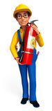 Young Plumber with fire extinguisher bag Royalty Free Stock Photo