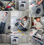 Young plumber fix washing machine Royalty Free Stock Photography
