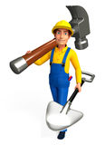 Young Plumber with hammer and spade Royalty Free Stock Photography