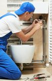 Young plumber man worker stock images