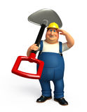 Young Plumber with spade Stock Photo