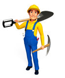 Young Plumber with spade Royalty Free Stock Photo
