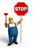 Young Plumber with stop sign Stock Image