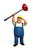 Young Plumber with toilet plunger Royalty Free Stock Photos
