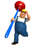 Young Plumber with toilet plunger Stock Image