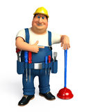 Young Plumber with toilet plunger Royalty Free Stock Images