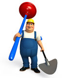 Young Plumber with toilet plunger and spade Stock Photography