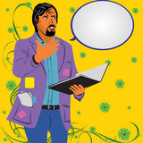 A young poet. Vector illustration of a young man reading a poetry with a comic balloon Royalty Free Stock Photography