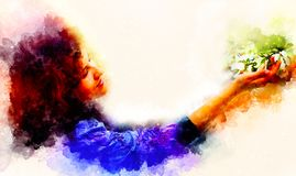 Young poetic woman with flower and softly blurred watercolor background. stock illustration