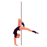Young pole dance woman in black leotard doing hand stand Stock Photos