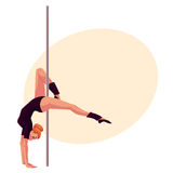 Young pole dance woman in black leotard doing hand stand Stock Photo