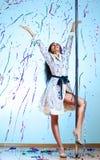 Young pole dance woman celebrating Stock Photos