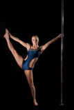 Young pole dance woman in costume Stock Photography