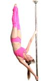 Young pole dance woman make human flag isolated Royalty Free Stock Photo