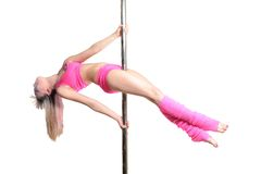 Young pole dance woman make plank variation isolated Stock Image