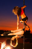 Young pole dance women Royalty Free Stock Photo