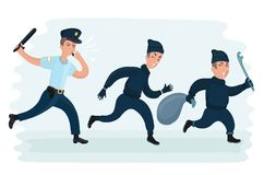 Young police man running chasing thief escaping with stolen bag. Vector cartoon funny illustration of young police man running chasing thiefes escaping with stock illustration