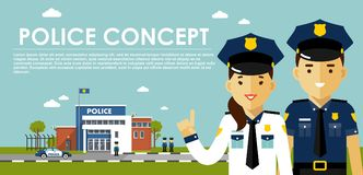 Police concept with cops in flat style Royalty Free Stock Photography