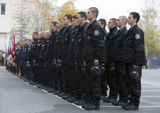 Young policemen in formation Royalty Free Stock Photography