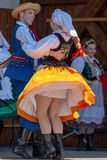 Young Polish dancers in traditional costume stock images