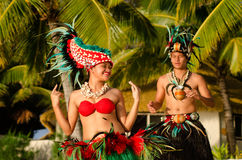Free Young Polynesian Pacific Island Tahitian Dancers Couple Stock Images - 34350814