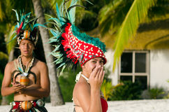 Free Young Polynesian Pacific Island Tahitian Dancers Couple Royalty Free Stock Photos - 35649378