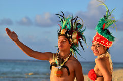 Young Polynesian Pacific Island Tahitian Dancers Couple royalty free stock images