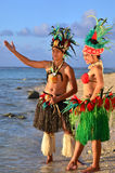 Young Polynesian Pacific Island Tahitian Dancers Couple. Portrait of attractive young Polynesian Pacific Island Tahitian male and female dancers in colorful Stock Photos