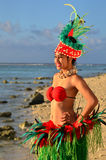 Young Polynesian Pacific Island Tahitian Woman Dancer Royalty Free Stock Image
