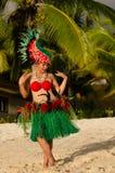 Young Polynesian Pacific Island Tahitian Woman Dancer Stock Image