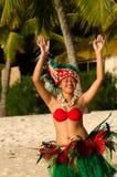 Young Polynesian Pacific Island Tahitian Woman Dancer Stock Photo