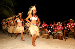 Young Polynesian Pacific Island Tahitian Woman Dancers. Portrait of Polynesian Pacific Island Tahitian female dancer in colorful costume dancing on tropical Royalty Free Stock Image