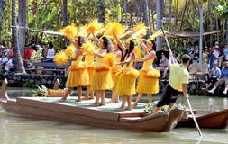 Young Polynesian Performers entertaining visitors at the Polynesian Cultural Center. Honolulu, Hawaii - May 27, 2016: Young Polynesian Performers entertaining Stock Photo