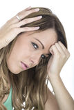 Young Poorly Woman With a Headache. Attractive Young Poorly Woman With a Headache Royalty Free Stock Photo
