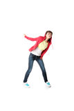 Young pop dancer. Isolated on white background Stock Photos
