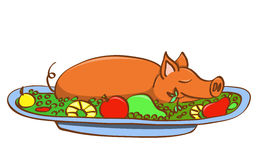 Young pork. Young pork on dish. Illustration. Isolated on white Stock Image