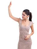 Young posing woman waving hello Royalty Free Stock Photography