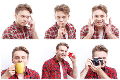 Young positive man in the studio. Positive folk. Collage of young nice-looking smiling man mimics in amusing and positive way Stock Images