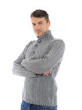 Young possitive man in winter casual clothes Royalty Free Stock Image