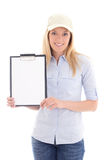 Young post delivery service woman with blank clipboard isolated Stock Photography