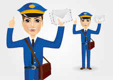 Young postman with envelopes Royalty Free Stock Photos