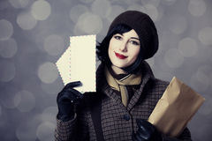 Young postman girl with mail. Photo in old color style with bokeh royalty free stock photography